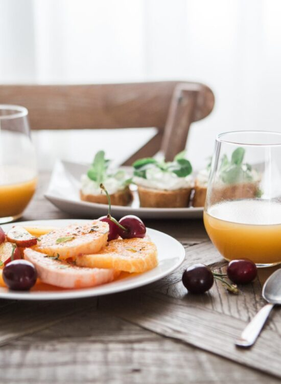 fruit and juice at breakfast